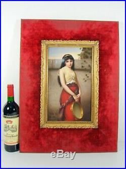 Antique Huge Fine Hand Painted KPM Porcelain Plaque Gypsy Tamburine 23 x 17
