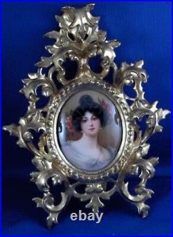 Antique Hutschenreuther Jugendstil Porcelain Lady Portrait Plaque Porzellan Bild