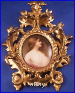 Antique Hutschenreuther Porcelain Semi Nude Lady Portrait Plaque Porzellan 19thC