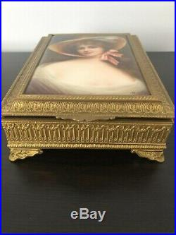 Antique Jewelry Box Kpm Style Porcelain PlaqueJeunesse-Youth Signed Wagner 19c
