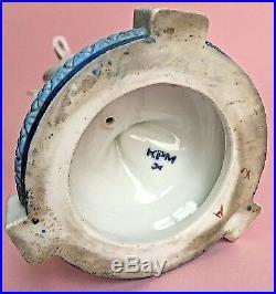 Antique KPM 12Tall Victorian Porcelain Cupid Figurine Bud Vase Girl Blue White
