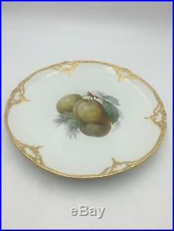 Antique KPM Art Nouveau Fruit Plate Blue Sceptre Red Orb Gold Trim #4