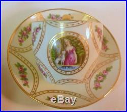 Antique KPM BERLIN Cup & Saucer Woman DOG Hodroff Estate 19c Empire Regency