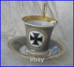 Antique KPM Berlin 1914 Porcelain WWI IRON CROSS Cup & Saucer German DS18