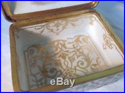 Antique KPM Berlin Art Nouveau Hand Painted Porcelain Trinket Box Cherubs 19th C