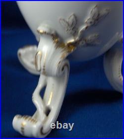 Antique KPM Berlin Floral Egg Porcelain Tea Caddy Jar Porzellan Teedose Vase Lid