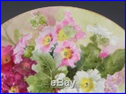 Antique KPM Berlin HANDPAINTED FLOWERS 13-7/8 LARGE PLATE CHARGER GOLD TRIM
