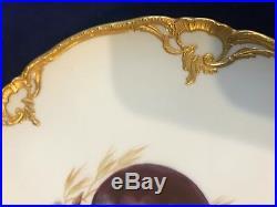 Antique KPM Berlin Imperial Orb mark Art Nouveau Porcelain cabinet Plate plum