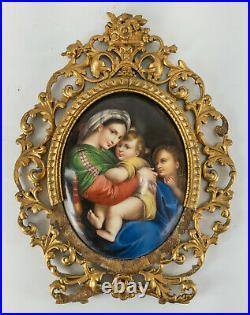 Antique KPM Berlin Painted Porcelain Plaque Raphael Maddona Della Sedia Frame
