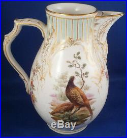 Antique KPM Berlin Porcelain Bird Scene Coffee Pot Porzellan Kanne Vogelszenen