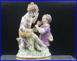 Antique KPM Berlin Porcelain Boy with Flute Serenading girl