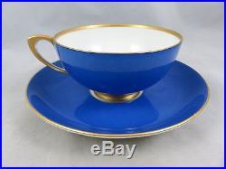 Antique KPM Berlin Porcelain Cobalt Blue Gold Tea Cup Saucer Set Germany