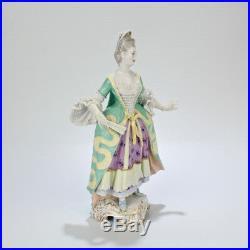 Antique KPM Berlin Porcelain Figurine of Lady in a Robe A La Francaise Dress PC