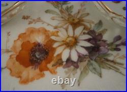 Antique KPM Berlin Porcelain Floral Inkwell & Tray Set Porzellan Tintenfass Ink