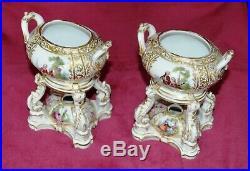 Antique KPM Berlin Porcelain Hand Painted Perfume Burners Pair of