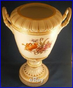 Antique KPM Berlin Porcelain Lidded Scenic Floral Urn Vase Porzellan Scene Lid