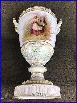 Antique KPM Berlin Porcelain Lidded Urn Vase