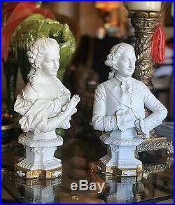 Antique KPM Berlin Porcelain Louis XVI and Marie Antoinette Bust Figurine