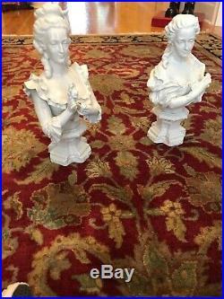 Antique KPM Berlin Porcelain Marie Antoinette Bust Figurines Pair