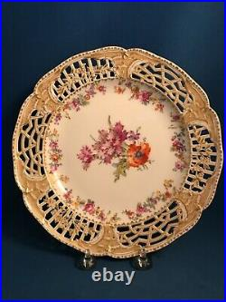 Antique KPM Berlin Porcelain Reticulated Cabinet Plate Hand Painted Floral