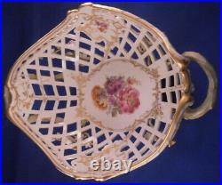 Antique KPM Berlin Porcelain Reticulated Floral Basket Porzellan Korb German