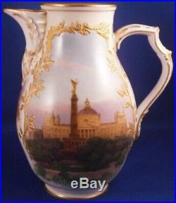 Antique KPM Berlin Porcelain Scenic Pot Pitcher Jug Creamer Porzellan Kanne