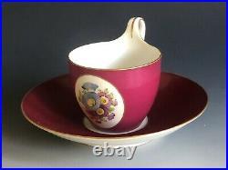 Antique KPM Berlin Porcelain Teacup & Saucer 19th C