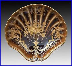 Antique KPM Berlin Scallop Shell Shaped Porcelain Small Dish Plate