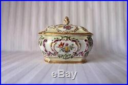 Antique KPM Berlin porcelain floral jewelry box 1849-1870