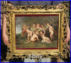 Antique KPM Cherub Fruit Garland Porcelain Berlin plaque Florentine frame Rubens