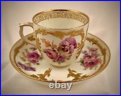 Antique KPM Demitasse Cup & Saucer, Neuzierat Pattern