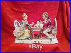 Antique KPM Dresden German Porcelain Figurine Couple Playing Cards