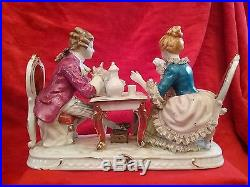 Antique KPM Dresden German Porcelain Figurine Couple Playing Cards