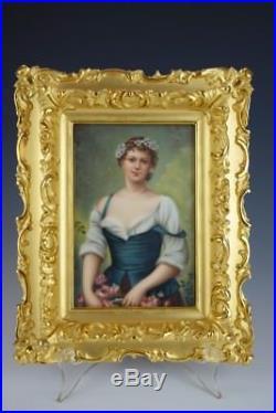 Antique KPM GERMAN Handpainted Porcelain Plaque Gorgeous Maiden Portrait