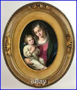Antique KPM German Hand Painted Porcelain Madonna Child Oval Plaque Gilded Frame