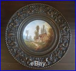Antique KPM German Hand Painted Porcelain Plate Brass Repousse Frame