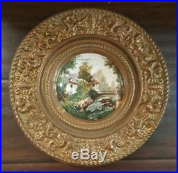 Antique KPM German Hand Painted Porcelain Plate Ormolu Brass Repousse Frame