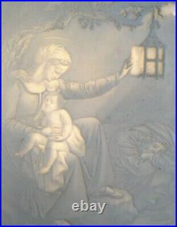 Antique KPM German Lithophane Panel Large Madonna & Child