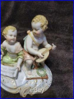 Antique KPM German Porcelain Cherubs Children Music Musician Sheet Music Lyre
