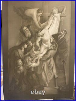 Antique KPM German Porcelain Lithophane After Rubens Descent From The Cross
