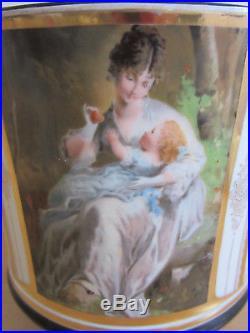 Antique KPM, German Porcelain fancy planter with painted woman & child scene