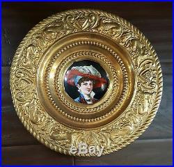 Antique KPM German Portrait Painting Porcelain Plate Ormolu Brass Repousse Frame
