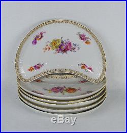 Antique KPM Germany Berlin Porcelain Crescent Shaped 6 Bone Dishes