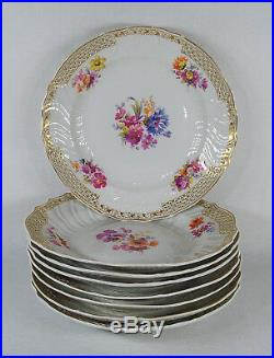 Antique KPM Germany Berlin Porcelain Set of 8 Pierced Reticulated Plates