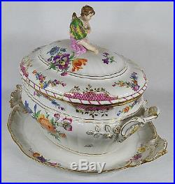 Antique KPM Germany Berlin Porcelain Soup Tureen with Platter Tray