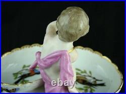 Antique KPM Hand Painted Porcelain Double Salt with Central Cherub Figure