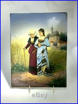 Antique KPM Hand Painted Porcelain Plaque Wisdom to Young Love 1830's Mark