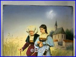 Antique KPM Hand Painted Porcelain Plaque Wisdom to Young Love 1830's Mark