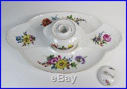 Antique KPM Hutschenreuther Fine Porcelain Embossed Dresden Flowers Inkwell