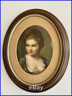 Antique KPM Hutschenreuther Limoge Style Portrait of Woman Porcelain Plaque